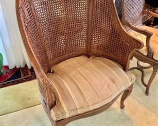 "$395 - Louis XV style double cane barrel back and cane seat Bergiere with fitted cushion (cane is in good condition, cushion is stained); 44"" H x 29.5"" W x 26"" D, seat height without cushion is approx 14"""