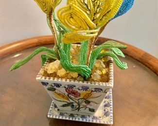 "$50 - Portuguese faience flower arrangement in small hand painted planter with beaded flowers; 7"" H x 3.5"" W x 3.5"" D"