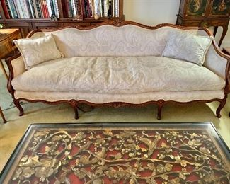 "$695 - Vintage Louis XV style down stuffed sofa and down pillows; 86"" W x 33.5"" W x 30"" D, seat height approx 15"""