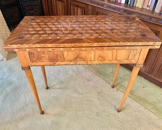 "$995 - Continental inlay, fruitwood drop leaf game table; 31"" H x 32.5"" W x 16"" D when closed"