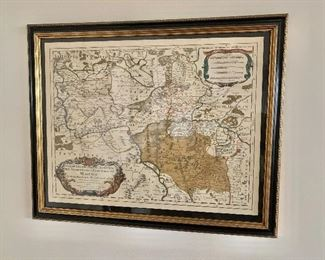 "$250 - Framed hand colored engraved map of Mayence- 27"" W x 22""H"
