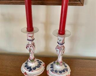"$40 - Ceramic Italian candlesticks; 8"" H x 4.5"" bases"