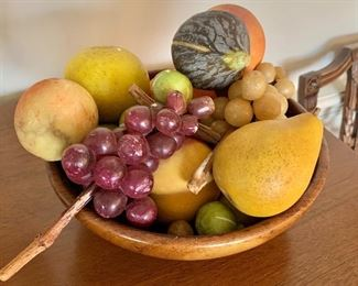 "$95 - Stone fruits (wooden bowl is 8.5"" diameter, 3"" deep)"