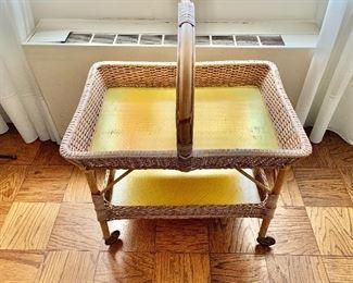 """$150 - Vintage, wicker rolling basket cart; 34"""" H x 27.5"""" W x 19"""" D"""