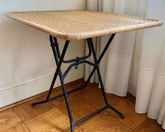 $95 - Folding table with metal base and resin wicker top