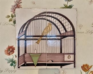 "$120 - Birdcage tile wall plaque -  10.5"" x 10.5"""