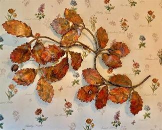 "$300 - Vintage metal leaf wall art; 42"" x 27"""