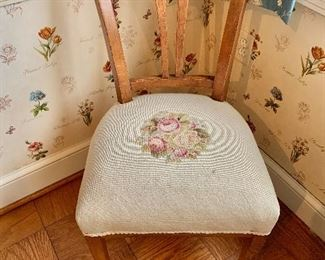"$95 - Vintage needlepoint chair - 33.5"" H x 18"" W x 21"" D, seat height approx 18"""