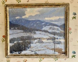 "$1,200 - Framed oil on canvas of mountain landscape in winter; signed MS Jameson (Minor Story Jameson), 34"" W x 29""H"