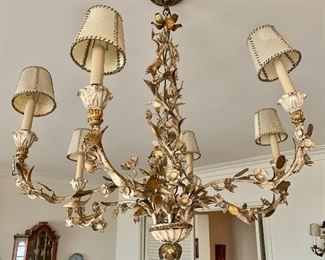 "$1,200 -Vintage six-arm metal chandelier; 31"" H x 31"" W        NOTE: A separate charge of $40 will be applied for an electrician to remove the fixture."