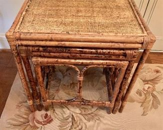 "$150 - Bamboo nesting tables #1; largest is 22"" H x 22"" W x 16"" D"