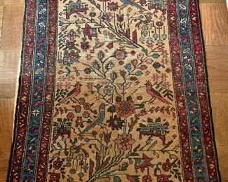 "$450 - Sarouk scatter rug;  foliate and bird motif on beige field, 33"" x 45"" - wear consistent with age and use"