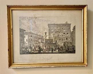 """$60 - Framed engraving entitled """"Markt Platz, Zu Perugia, 1932""""  - 21"""" H x 15"""" W"""