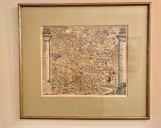 "$110 - Framed print of Italian/Piaza study - 20"" H x 22"" W"