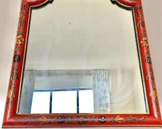 "$95 - Vintage mirror in red hand painted frame, 18"" H x 15"" W"