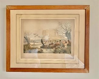 "$75 - Framed hand colored engraving ""Wild Duck Shooting"" by R. Have Jr. (1860/1870) - as is, paper darkened with exposure to heat and light;  16.5"" H x 21"" W"