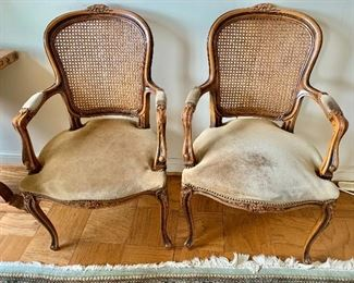 "$495 for pair - AS IS some wear to the suede, caning in good condition. 37"" H x 22"" W x 24"" D, seat height is approx 17"""