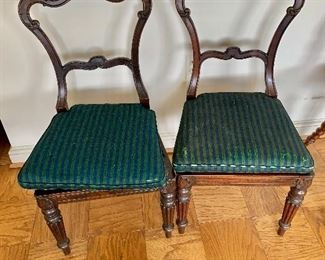 "$125 each - Empire Style antique chairs;  33.5"" H x 17"" W x 22"" D, seat height is approx 16"" without cushion (torn)"