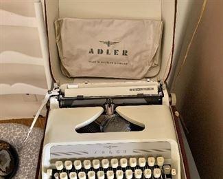 "$75 - Vintage Adler typewriter; case is 6"" x 13"" x 13"""