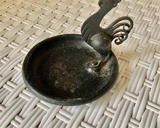 "$24- Vintage metal tray with rooster; 4"" H x 4.5"" W"
