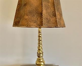 "$150 - Vintage lamp with leather shade - Tested and working. 29"" H with 18"" diameter leather shade"