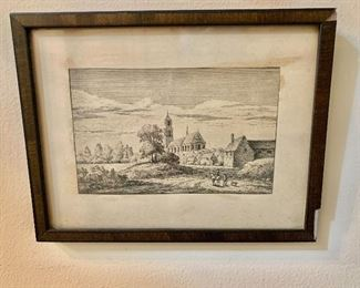 "$20 - Framed and matted engraving - as is - 4.5"" H x 6.5"" W"