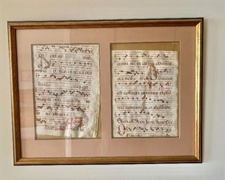 "$110 - Framed and matted sheet music panels in Hogarth frame; as is; 17"" H x 22"" W"