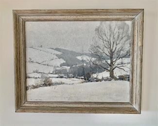 "$495 - Framed oil on canvas, ""Winter Scene"" by Minor Story Jameson (American, 1873-1955) ; signed lower left; 17"" H x 21"" W"