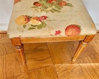 "$95 - Vintage fruit fabric covered seat; 18"" H x 19.5"" W x 15.5"" D - includes pillow and extra fabric"