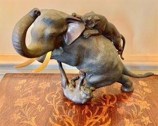 "$450 - Japanese bronze table sculpture of African elephant attacked by tigers; 10"" H x 15"" W x 9"" D"