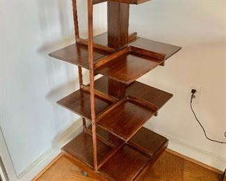 "$200 - Vintage rotating book shelf; AS IS, missing two vertical rails, spins fine. 45"" H x 19.5"" W x 19"" D"