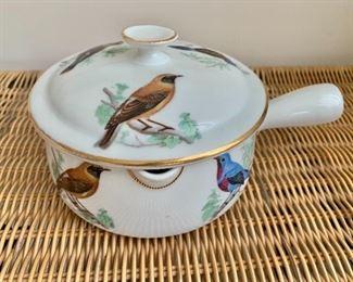 """$40 - Lourioux Le Faune porcelain pot with lid; 5"""" diameter x 8"""" long incl. handle"""