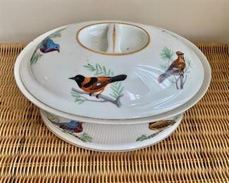 "$50 Lourioux Le Faune porcelain oval baking dish with lid #2; 10"" W x 7"" D x 5"" H"