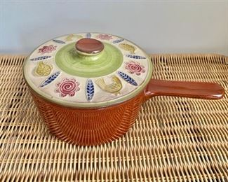 "$20 - Vintage Ceramic saucepan with lid; 10"" long incl. handle x 6"" W x 4"" H"