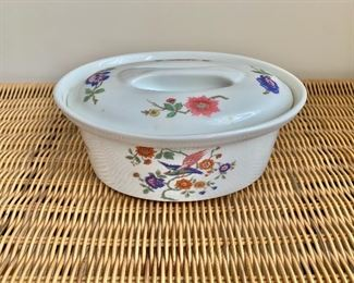 "$30 - Cordon Bleu oval baking dish with lid; 7.5"" W x 5.5 D x 3"" H"