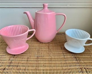 "$40 - Vintage Melitta pink ceramic pour-over coffee pot; 7.5"" H x 9"" W spout to handle;  All three pieces included in set"