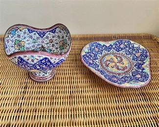 "$50 - Set of hand painted metal and enamel dishes; bowl is 4.5"" H x 5"" W , triangle dish is 7"" W"