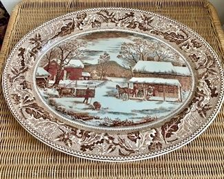 "$40 - Johnson Brothers 'Historic America Thanksgiving' platter; 19.5"" x 15"""