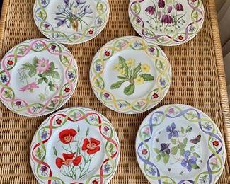 "$60 - Six Wedgwood 'The Flower Artists of Kew' dessert plates; 8"""