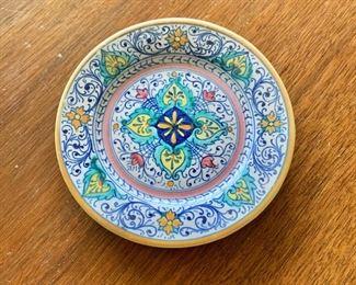 "$20 - Miniature Deruta hand painted dish; 4.5"" diameter"