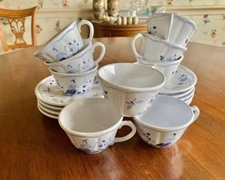 $90 - Longchamp Moustiers blue and white pattern; 9 teacups and 9 saucers