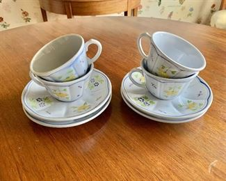$40 - Longchamp yellow flower pattern; 4 teacups and 4 saucers