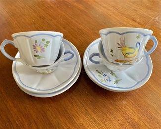 $40 - Longchamp bird teacups #1; 4 teacups and 4 saucers