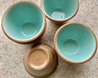 "$40 - Set of 5 Chateau Buffet ceramic custard cups; teal interior;  4"" diameter, 3"" high"