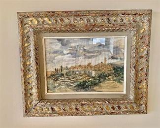 """$200 - Saint Paul de Vence Gouache painting on paper - 13.5"""" H x 17"""" W"""