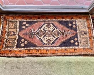"$95 - Turkish scatter rug #1 with orange border, AS IS, sun faded; approx 44"" x 22"""