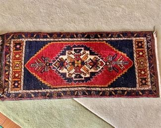 "$95 - Turkish scatter rug #2 with orange medallion; 20"" x 46"""
