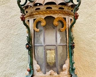 "$195 - Vintage leaded glass window lantern - may need rewiring - 15.5"" H x 12"" W"