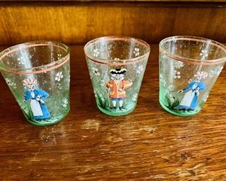 "$30 - Set of three hand painted cordial shot glasses; 2.5"" H"