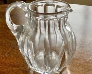 "$295 - Baccarat Harcourt small  crystal pitcher; 6"" H x 6"" wide from handle to spout"
